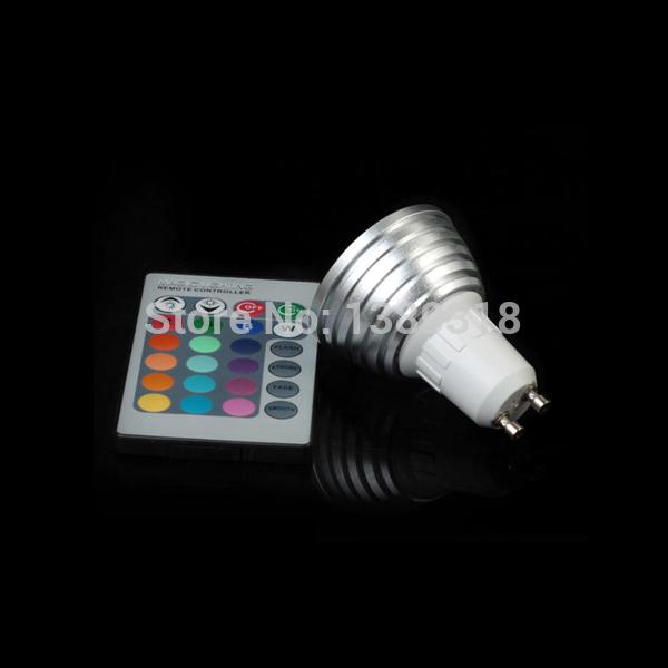 COB LED LampGU10 3W 85-265V 220V RGB LED Light Spotlight Bulb Lamp with Remote Controller For Home Bar(China (Mainland))