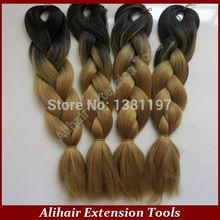 Grátis frete 20 e 24inch100grams / pack Ombre dois tons colorido 100% Kanekalon Jumbo cabelo trança(China (Mainland))