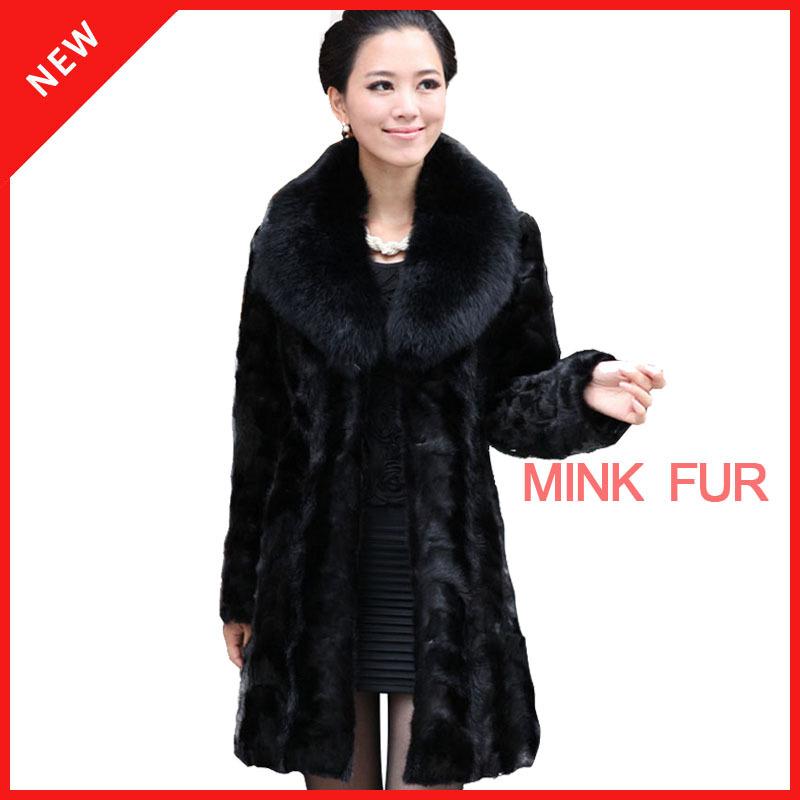 100% luxury real mink fur coat natural,black fox fur collar women outerwear coats xxxl,women's long mink fur coats winter 2014(China (Mainland))