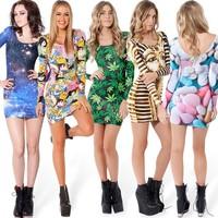 Hot Fashion Women casual dress galaxy digital print women sexy dress bodycon Skinny Dress evening party dresses b9 SV000545