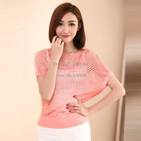 womens jumpers 2014 fashion knitted pullovers batwing hollow out short-sleeve o-neck loose casual female sweater b7 SV007042