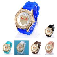 2014 Hot Sell bluie ashions Women diamond decorated owl pattern design silicone Ladies quartz sport chronograph  dress Watches