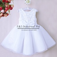 Fashion 2015 Girls Party Dress White Lace Chiffion Soild Flowers Baby Princess Clothing For Girl Wedding Product GD40814-25