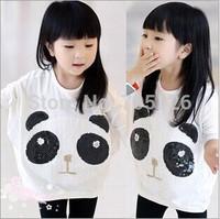 Autumn Children Clothing Female Pullover Panda Paillette Girl Batwing Shirt Baby Sweatshirt Kids Long Sleeve T-shirt 5pcs/lot