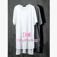 Summer fashion arc hem t shirts for men / Lengthen Irregular Hem Men T Shirts / Extended Black White Grey Men Tees XS-3XL