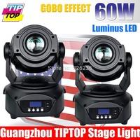 High Quality 2pcs/lot USA Luminus Led 60W Led Moving Head Spot Light 7Color+White Led Moving Head Light DMX512 15CHs Gobo Light