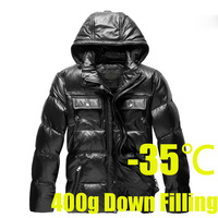 2014 New Arrival Russia -35 Celsius Winter Super Thick Men Genuine Leather Down Jacket Hooded 400g Down Filling Plus Size Coat
