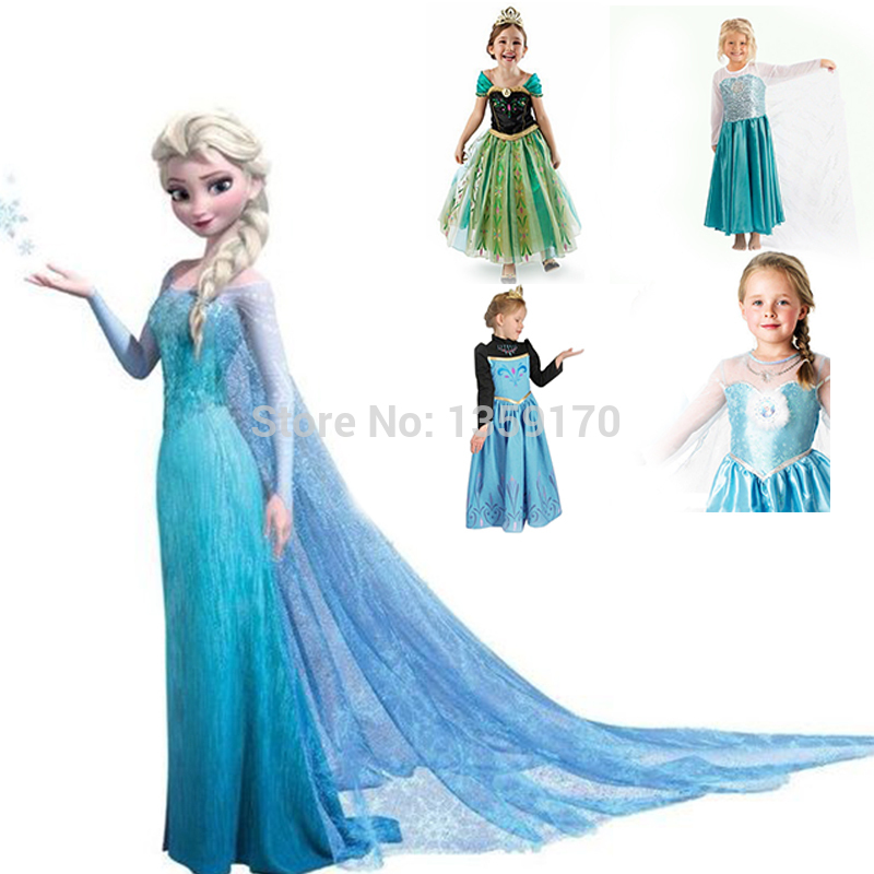 1Retail!New 2014 Frozen Dress Elsa & Anna Summer Dress For Girl Princess Dresses Brand Girls Dress Children Clothing Kids Wear(China (Mainland))