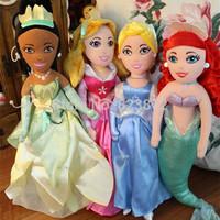 Original Princesses Dolls Cinderella Princess Ariel Little Mermaid Tiana Sleeping Beauty Plush Dolls 36CM Toys for Girls