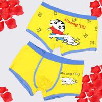 Concise comfortable 100% cotton men's sexy underwear cartoon boxer men's women underwear free shipping