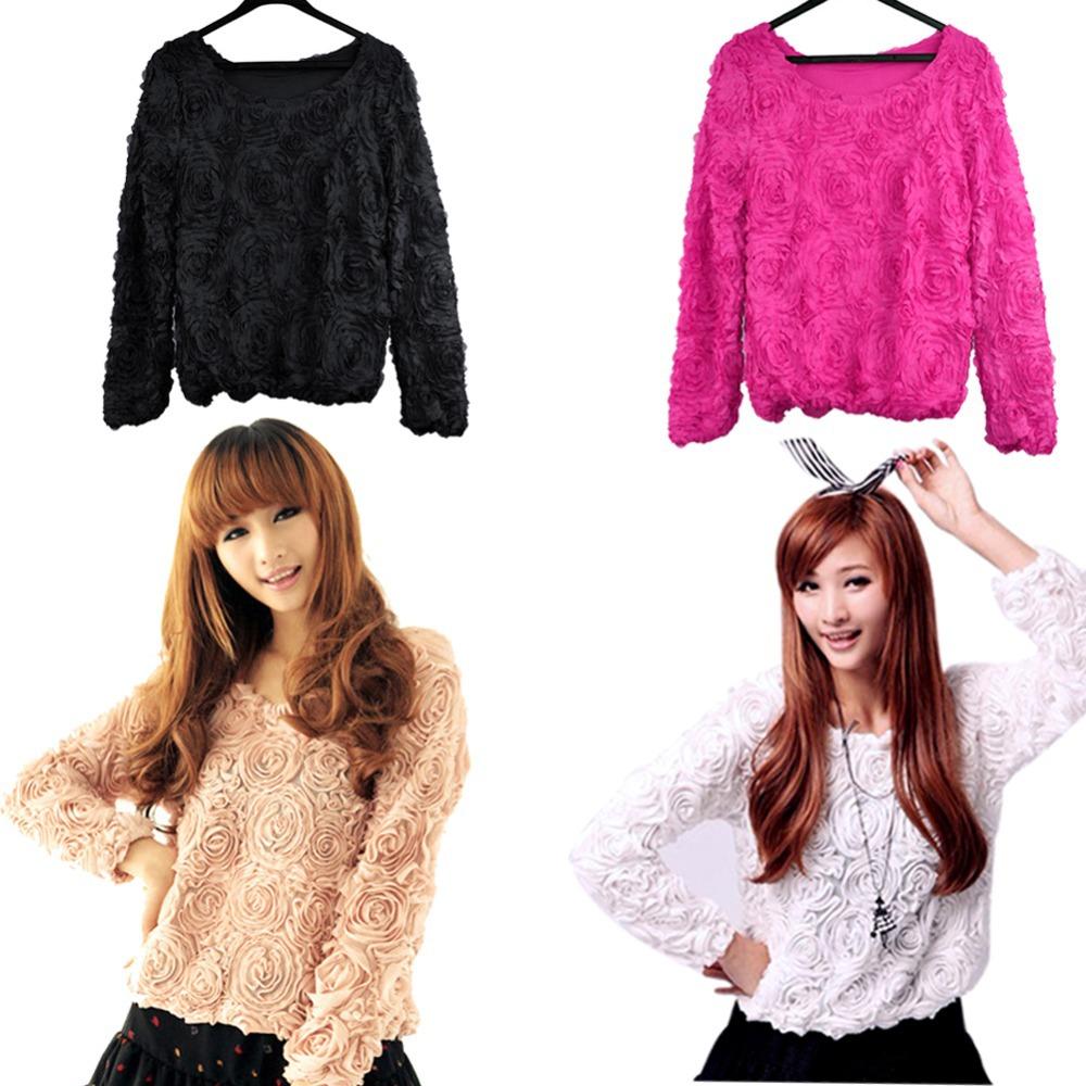 Ladies Women 3D Rose Flowers Sweater Sweatshirt Pullover T-Shirt Tops Jumper Free Shipping(China (Mainland))