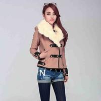 New Women Wool Coat Sleeve PU Spliced Fashion Rabbit Fur Collar  Autumn Winter Jacket Coat  Size M L XL XXL Free Shipping XX576