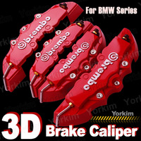 Free shipping 4pcs  Brembo For BMW Brake Caliper parking all Car Front+Rear 3D Disc Cover with Universal Kit car styling