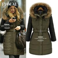 FYOUAI NEW Winter Women Coat 2014 Fashion Cotton Jacket Warm Long Coat European Style Big Size Parkas Women Clothing