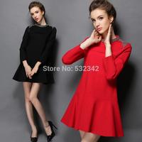2014 autumn women's hand-beaded large size dress black mini black dress with long sleeve XL,XXL,3XL,4XL,5XL