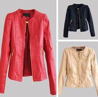 new 2014 jaqueta de couro feminina 3 color Women Winter Motorcycle leather jacket women Zipper solid outerwear coats for women
