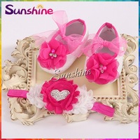 Girls love diamond/pearl baby Shoes,soft soled shabby Flower toddler boots,Crib lace shoes kids Headbands set #2T0014 4 set/lot