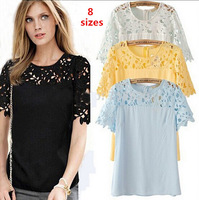 Free Shipping 2014 Summer Autumn Blouses Shirts Women Plus Size Hollow Out Short-sleeve Lace Chiffon Tops