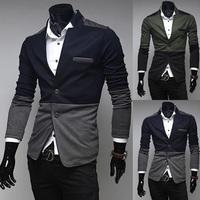 2014 New style Premium Men's Slim Top Designed Sexy Short Jacket Coat Patchwork Slim Korean Plus Size M-XXL BX16