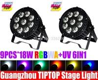 2pcs/lot New Arrival 9pcs*18W 6IN1 RGBWA+UV Led Par Light Waterproof IP65 Led Par64 Can Stage Light 90V-240V 6/10DMX Channels
