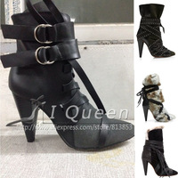 2015 NEW Isabel Marant ankle Boots spring belt fashion buckle Real Genuine Leather high heel boot Women shoes sling back autumn