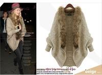 Faux Fur Collar Knitted Cardigans Womens Sweaters Fashion 2014 Autumn Winter Women Lady Batwing Sleeve Woollen Sweater