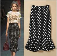 Fashion 2014 Cotton Dots Printed Long Mermaid Maxi Skirt High Waist Pencil  Women skirts Plus Size female S142030