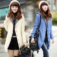 2015 new winter fashion women sweater plus thick velvet jacket Girls casual warm long cardigan sweater Korean version coat