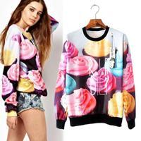 Color Matches Casual Long Sleeve Autumn Tees 2014 Korean O-neck Blusas Femininas Fitness Flowers Printed Women T Shirt 1222