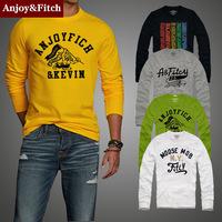 Anjoy & Fitch Brand New Fashion 2014 Autumn Street Men T-shirt Embroidery Logo Design Men's O-neck Youthful 100% Top Cotton XXXL