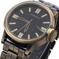 HOT SINOBI Brand Men Military Watches classics Retro Bronze Wristwatch,Men Quartz  clock sports watch