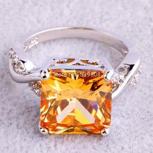 Wholesale Fashion Women Jewelry Rings Princess Cut Morganite White Sapphire 925 Silver Ring Size 6 7