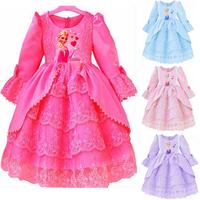 Retail, Frozen Elsa & Anna costume custom size for kids princess dress sequined cartoon costume Free shipping girls dresses