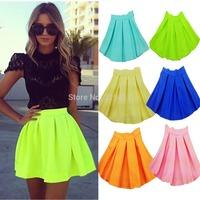 Hot Sale Fashion New 2014 Neon Skirts For Women High Waist Skirt Summer autumn flourescent Mini Skirts WTP0117(NO BELT)