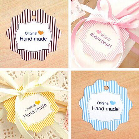 "High quality Stripes""HandMade""Diy Decoration Tag(with rope), Hang tag, Retro Gift Hang tag,Place Card (100pcs/lot) Z-7(China (Mainland))"