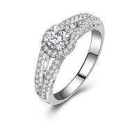 Vintage 0.5 carat cubic zirconia diamond halo engagement rings (MATE R124)