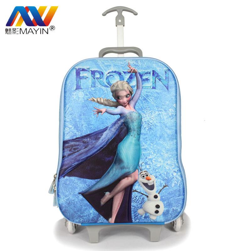 2014 frozen children school bag 3D frozen Bag wheeled school bags16 inch frozen backpack trolley luggage frozen backpack(China (Mainland))
