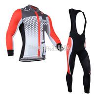New 2014 Autumn Winter Fleece cycling jersey/ men women cycling clothing  Long Sleeve+Bib Pants Bike Clothes  -BF0826