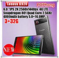 "Stock Lenovo K920 VIBE Z2 Pro Mobile Phone 4G LTE 3GB RAM 32GB ROM 6"" Snapdragon 801 Quad Core 2.5GHz 2560*1440 16.0MP"