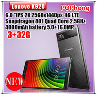 "Stock Lenovo K920 VIBE Z2 Pro Mobile Phone 4G LTE 3GB RAM 32GB ROM 6"" Snapdragon 801 Quad Core 2.5GHz 2560*1440 16.0MP"