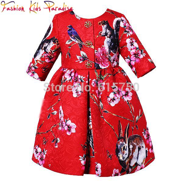 2015 autumn winter Italy top brand designer girls dress,high end kids dress(China (Mainland))