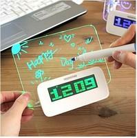 Creative item Bedroom gadgets Blue/Green LED Fluorescent Message Board Digital Alarm Clock Calendar Night light children's gift