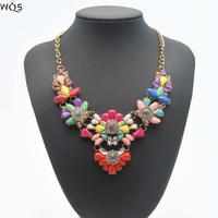 Fashion Brand Jewelry Necklace 2014 Shourouk Rainbow Colar Flower Stone Necklaces & Pendants For Women Statement Choker Necklace