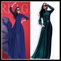 2015 long casual dress sping summer women chiffon maxi vestido new fashion full sleeve slim floor-length plus size green dresses