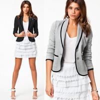 New Stylish Spring Autumn Women Ladies Casual Suit Outwear Long Sleeve Button Jacket Short Slim Blazer Coat Black Size S-XXL