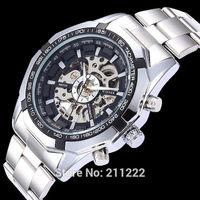 Hot Winner Stainless Steel Automatic Self-Wind Skeleton Wristwatch Mechanical Watch For Men Full Steel Watch Relogio Masculino