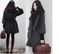 Europe and America style 2015 puff sleeve woolen outerwear wool jacket plus size medium-long winter women's coat