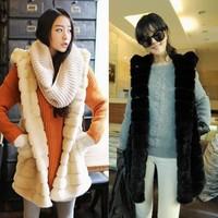 2014 new Women's plus size faux vest medium-long vest outerwear  long outerwear