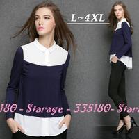 L-XXXXL Lapel Collar Irregular Hem Color Block Patchwork Long Sleeve Chiffon Blouses Tops Shirts Plus Size Women Clothing 3290