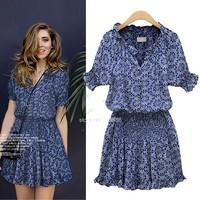 High Quality 2014 The Floral Print Women Summer Dress Blue Cotton Dress Vintage Elastic Waist Dress Drop Shipping B12 SV008079